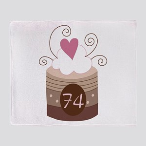 74th Birthday Cupcake Throw Blanket
