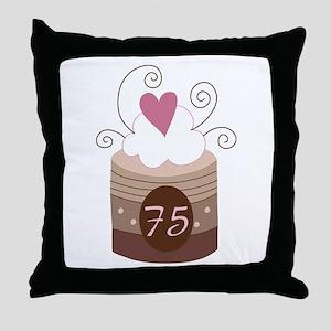 75th Birthday Cupcake Throw Pillow