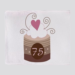 75th Birthday Cupcake Throw Blanket