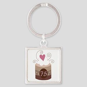 75th Birthday Cupcake Square Keychain