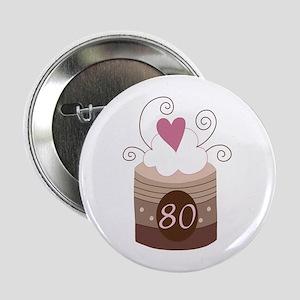 "80th Birthday Cupcake 2.25"" Button"