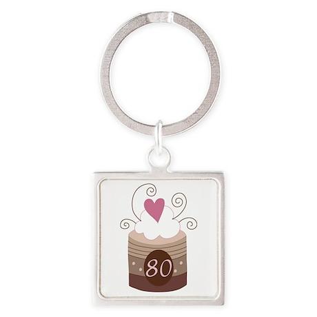 80th Birthday Cupcake Square Keychain