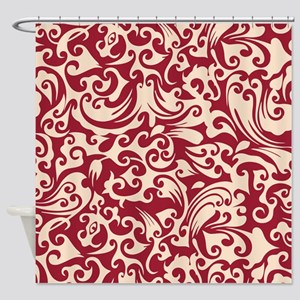 Chili Pepper & Linen Swirls Shower Curtain