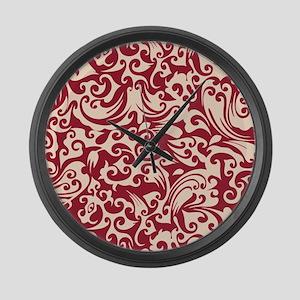 Chili Pepper & Linen Swirls Large Wall Clock