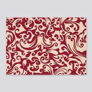 Chili Pepper & Linen Swirls 5'x7'Area Rug