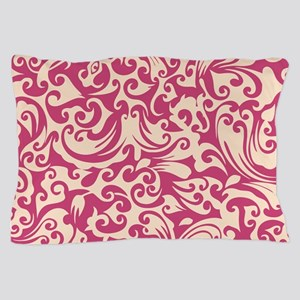 Fuschia Rose & Linen Swirls Pillow Case