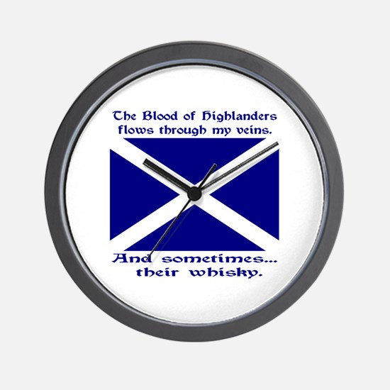 Scottish Blood Whisky St Andrew Wall Clock