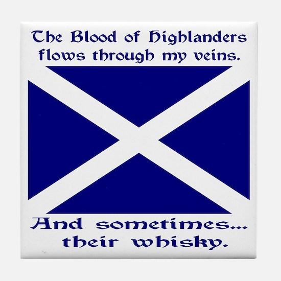 Scottish Blood Whisky St Andrew Tile Coaster