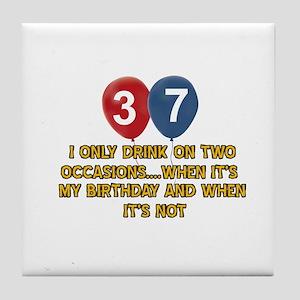 37 year old birthday designs Tile Coaster