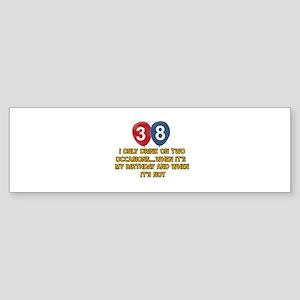 38 year old birthday designs Sticker (Bumper)