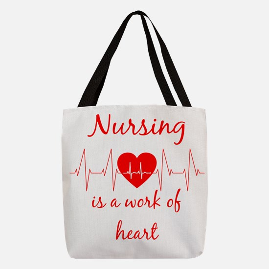 Nursing is a work of the Heart  Polyester Tote Bag