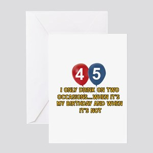 45 Year Old Birthday Designs Greeting Card