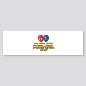 51 year old birthday designs Sticker (Bumper)