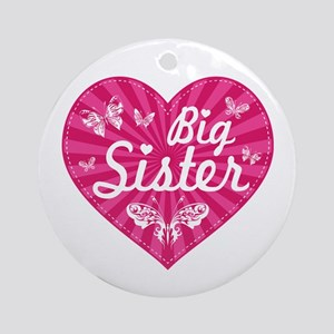 Big Sister Butterfly Heart Ornament (Round)