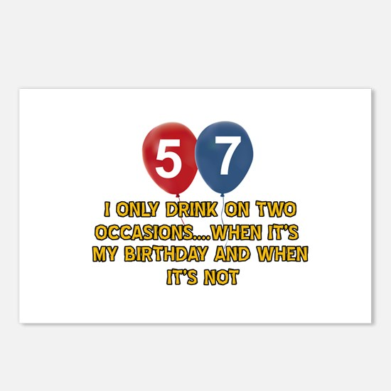 57 year old birthday designs Postcards (Package of