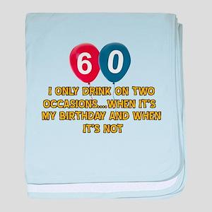 60 year old birthday designs baby blanket