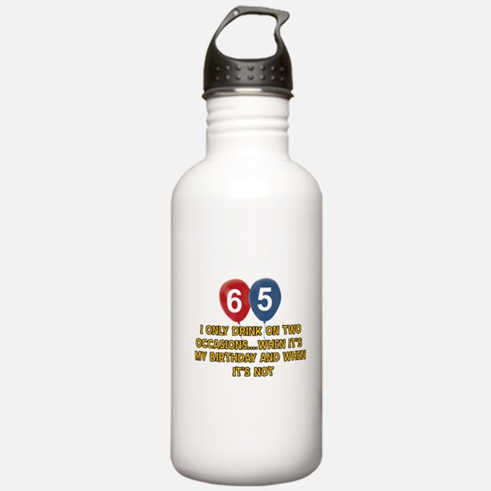 65 year old birthday designs Water Bottle