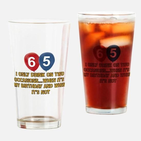 65 year old birthday designs Drinking Glass