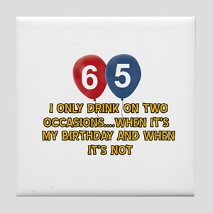 65 year old birthday designs Tile Coaster