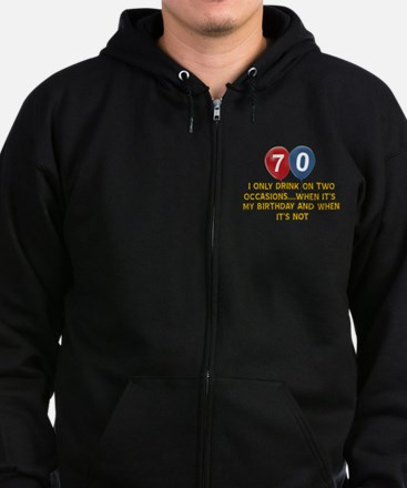 70 year old birthday designs Zip Hoodie (dark)