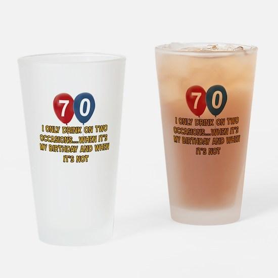 70 year old birthday designs Drinking Glass