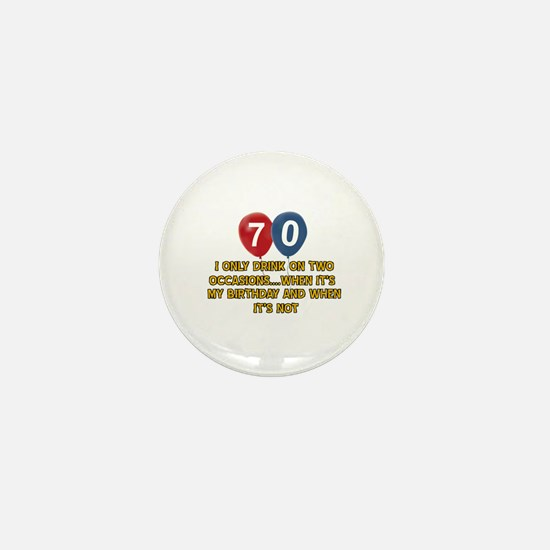 70 year old birthday designs Mini Button