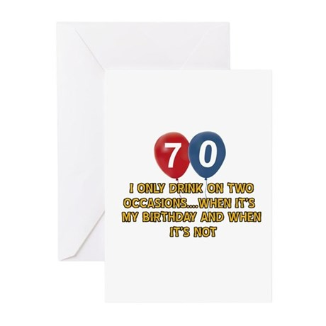 70 Year Old Birthday Designs Greeting Cards Pk Of