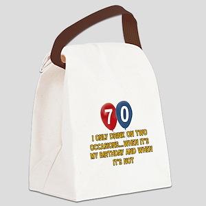 70 year old birthday designs Canvas Lunch Bag