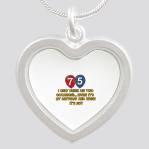 75 year old birthday designs Silver Heart Necklace