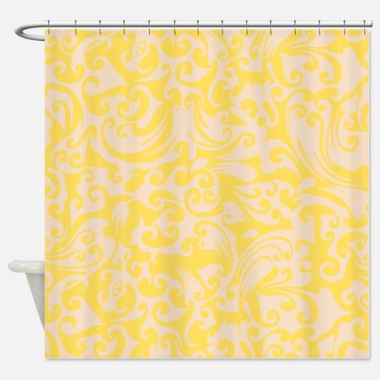 Lemon Zest & Linen Swirls Shower Curtain