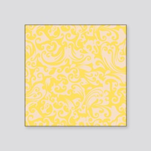 "Lemon Zest & Linen Swirls Square Sticker 3"" x 3"""