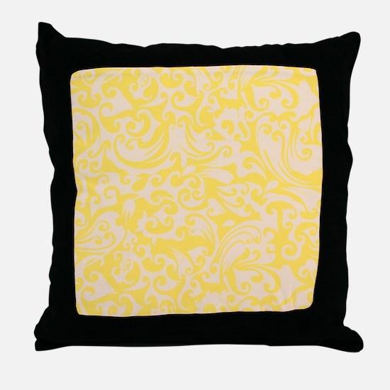 Lemon Zest & Linen Swirls Throw Pillow