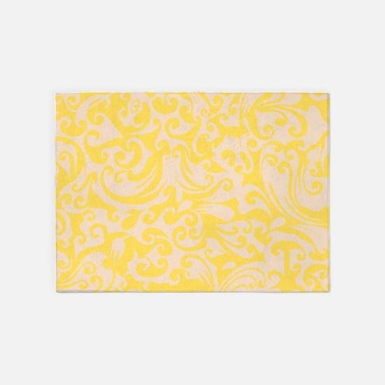 Lemon Zest & Linen Swirls 5'x7'Area Rug