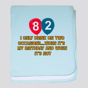 82 year old birthday designs baby blanket
