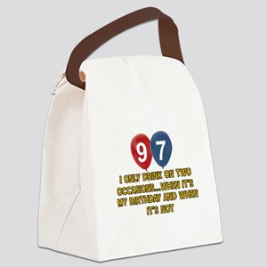 97 year old birthday designs Canvas Lunch Bag
