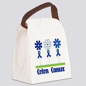 Colon Cancer Flowered Canvas Lunch Bag
