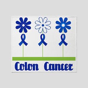 Colon Cancer Flowered Throw Blanket