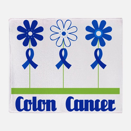 Colon Cancer Flowered Throw Blanket