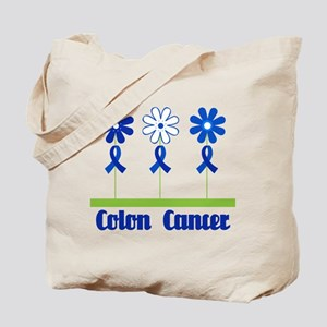 Colon Cancer Flowered Tote Bag