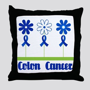 Colon Cancer Flowered Throw Pillow