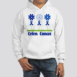 Colon Cancer Flowered Hooded Sweatshirt