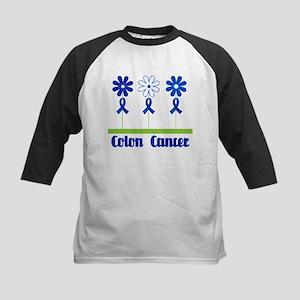 Colon Cancer Flowered Kids Baseball Jersey