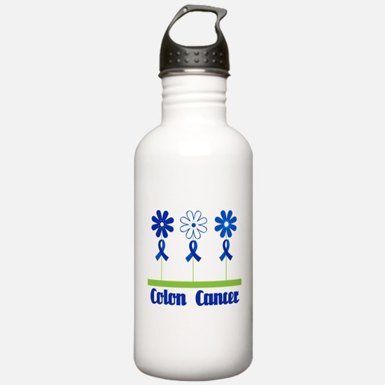 Colon Cancer Flowered Water Bottle