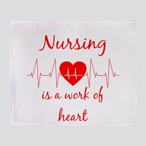Nursing is a work of the Heart Inspi Throw Blanket
