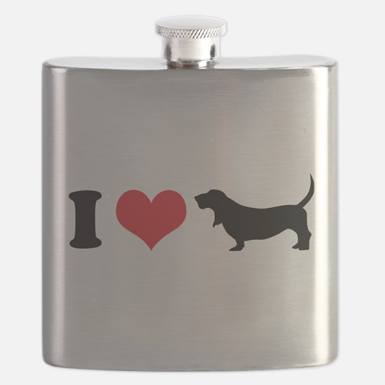I Heart Basset Hounds Flask