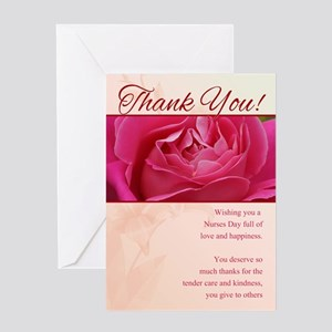 Nurses day gifts cafepress nurses day thank you greeting card with rose m4hsunfo