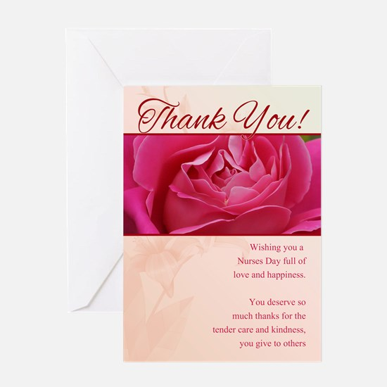 Nurses Day Thank You Greeting Card With Rose