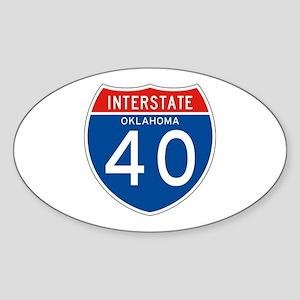 Interstate 40 - OK Oval Sticker