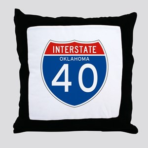 Interstate 40 - OK Throw Pillow