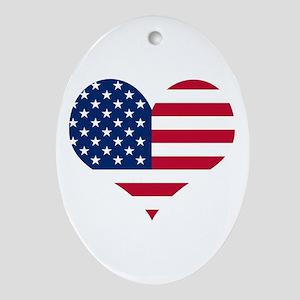 American Heart Oval Ornament
